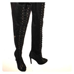 Peep Toe Corsets Lace Thigh High Boots.